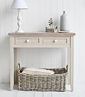 Kittery Grey Console sofa Table with white handles on drawers