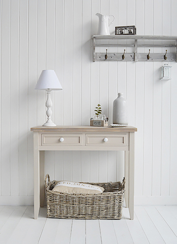 Kittery pebble grey hallway console table with white handles on the two drawers