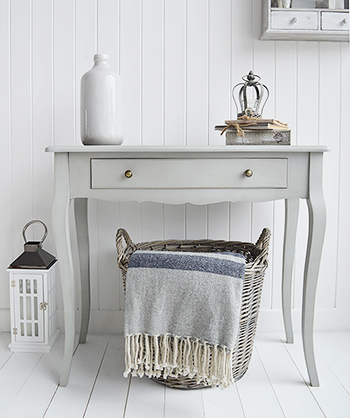 Ideas on decorating you hall in french style - the New Hampshire is a charming grey console table to complement all country interiors.