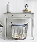 Our grey New Hampshire console table for small hall furniture
