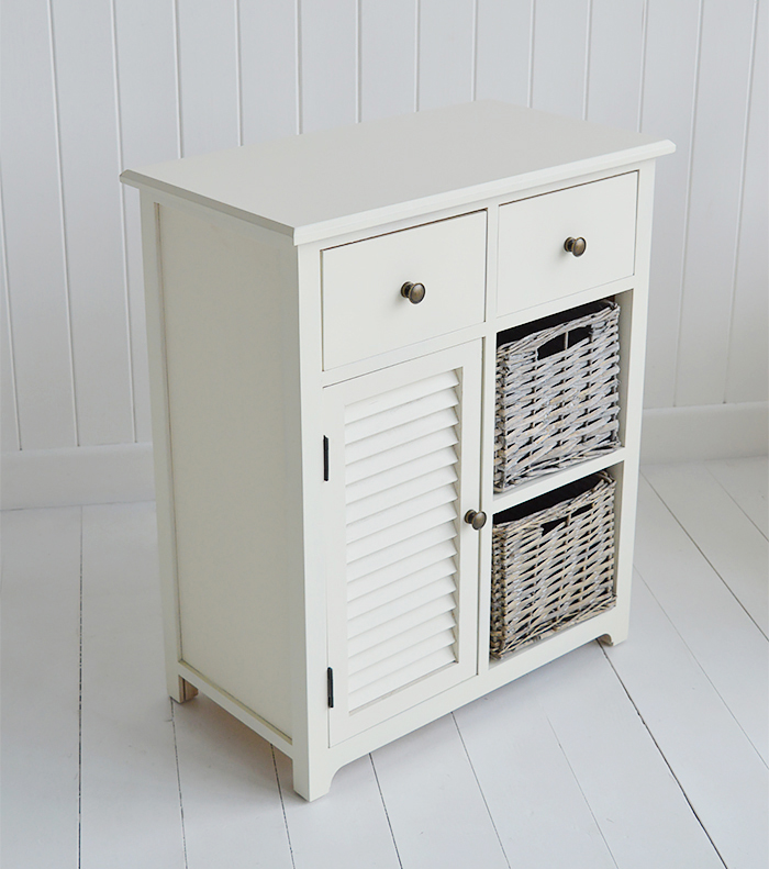 Newbury Cream Storage cabinet with 2 drawer, 2 baskets and cupboard for bedside table