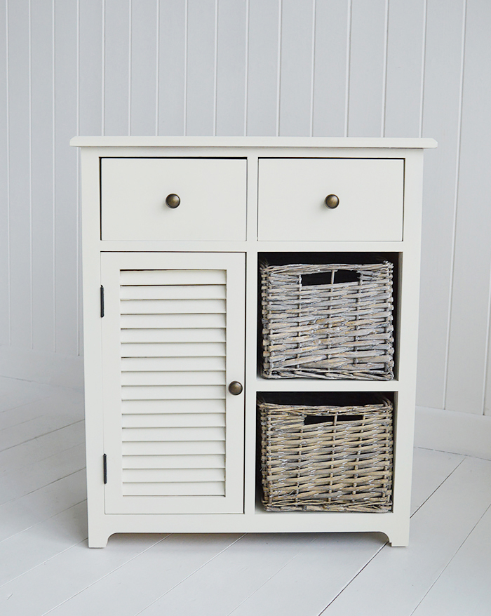Newbury Cream Storage cabinet with 2 drawer, 2 baskets and cupboard for storage furniture
