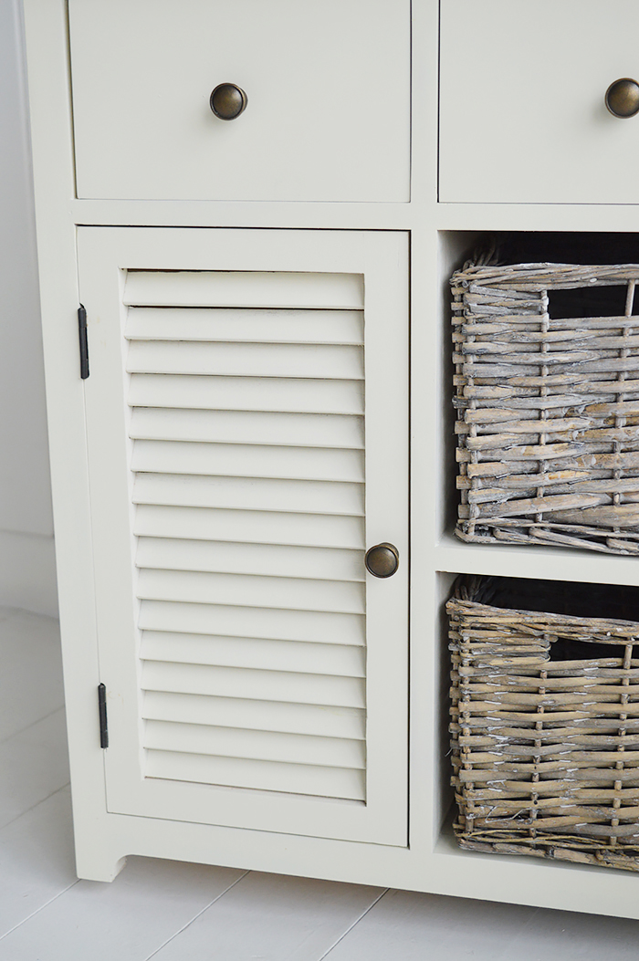 Newbury Cream Storage cabinet with 2 drawer, 2 baskets and cupboard for hallway furniture