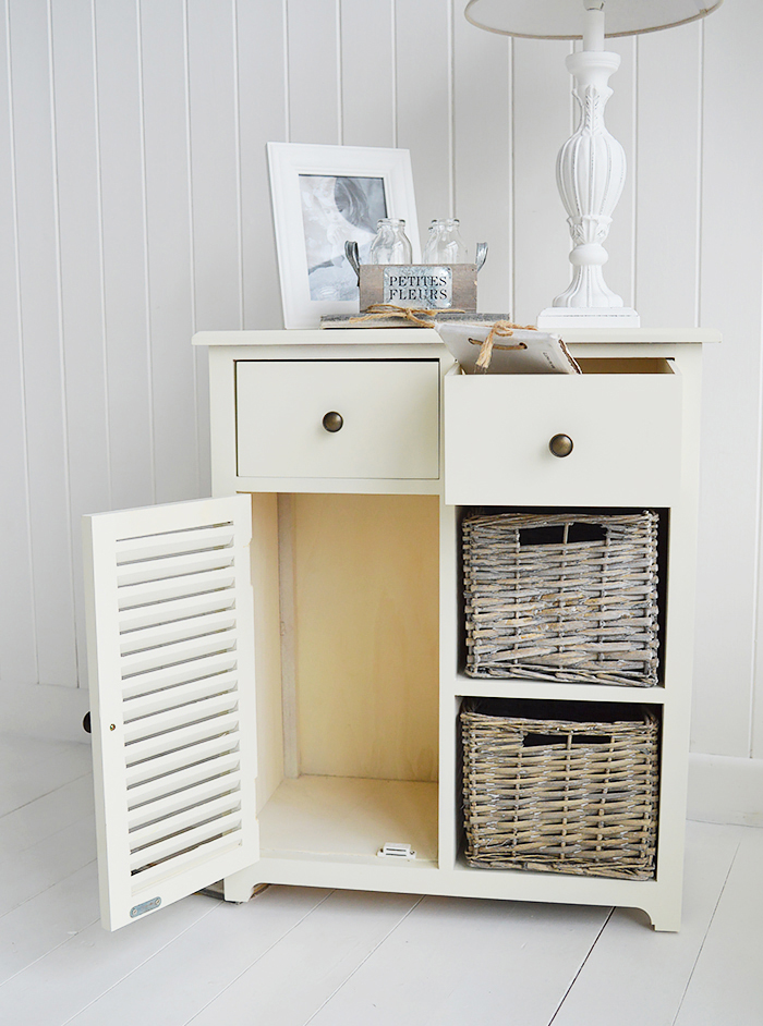 Newbury Cream Storage cabinet with 2 drawer, 2 baskets and cupboard with open drawers