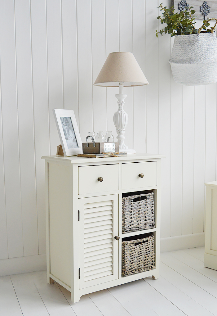 Newbury Cream Storage cabinet with 2 drawer, 2 baskets and cupboard for lamp table in living room