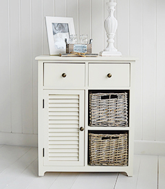 Newbury Cream Cabinet with 4 drawers and cupboard