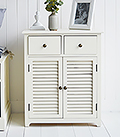 Newbury cream cabinet with large shelved cupboard and two drawers