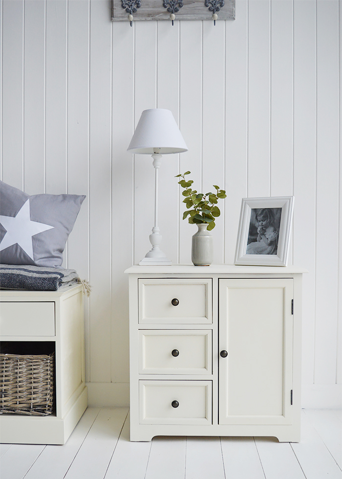 Newbury Cream furniture. A small cabinet with three drawers and a cupboard fromt The White Lighthouse