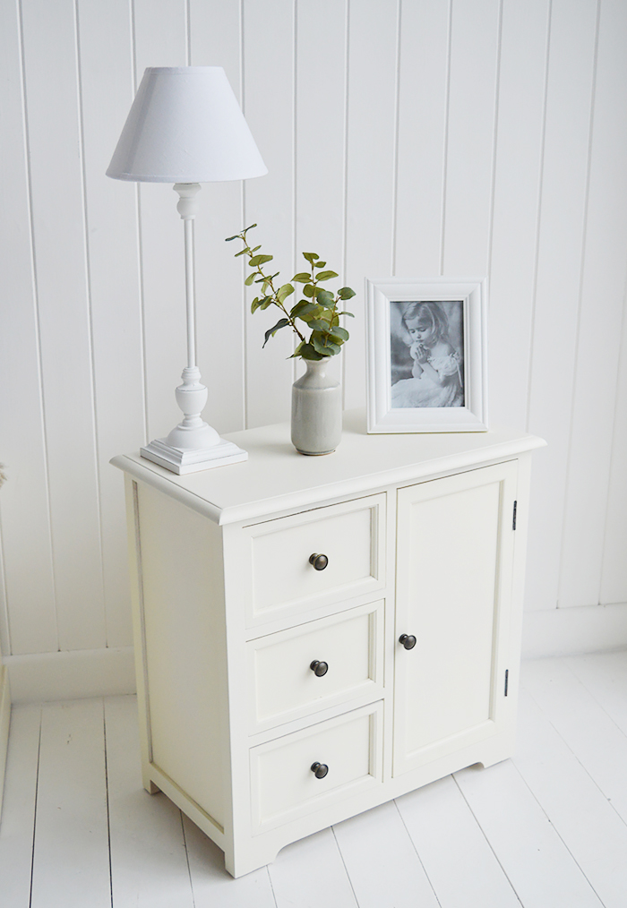Newbury cream storage furniture with drawers and cupboard, an ideal lamp table for the living room