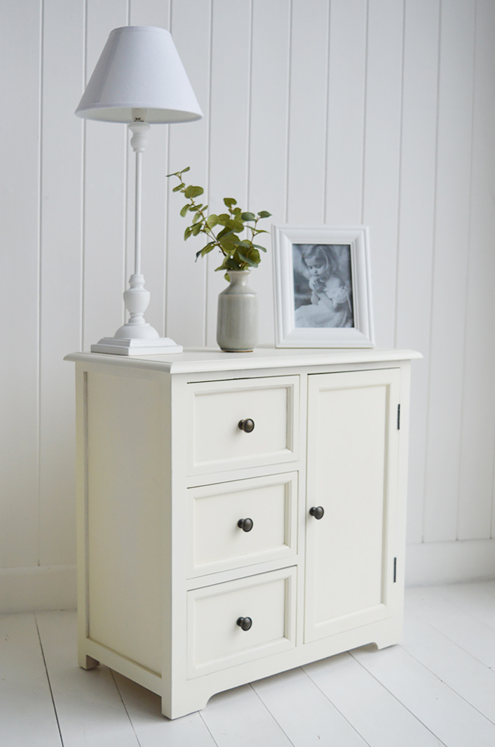 Newbury cream storage furniture with drawers and cupboard, an ideal bedside table