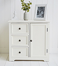 Newbury cream cabinet with cupboard and three drawers for storage furniture