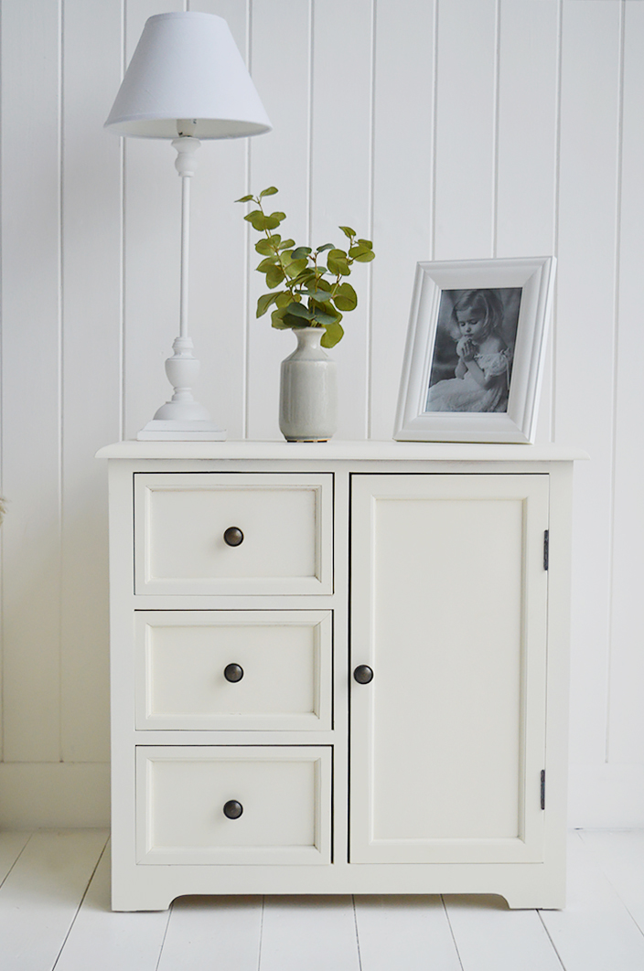 Newbury Cream Small Cabinet With Cupboard And Three Drawers The White Lighthouse Furniture