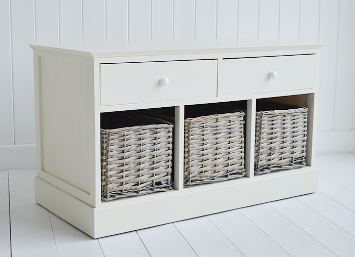 Cream Newbury storage bench from the fron to show the 5 drawers