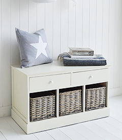 Newbury Cream Storage Bench Seat with 5 drawers for beach styled hallway furniture
