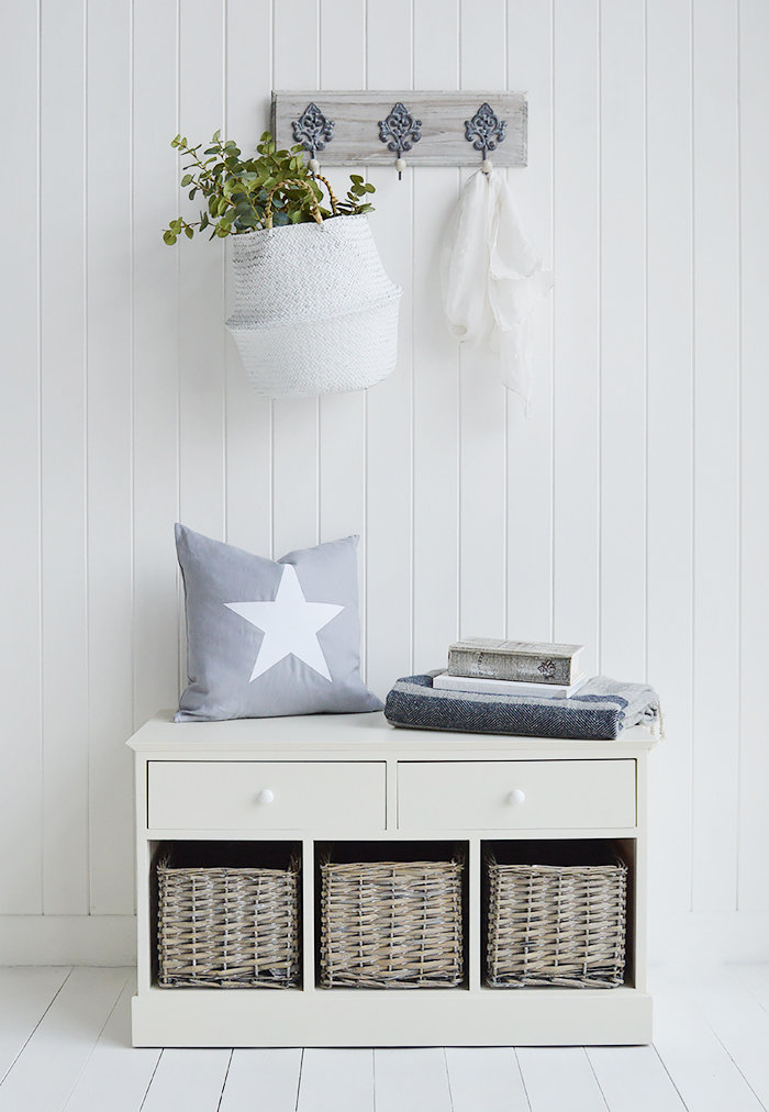 The Newbury cream bench with its clean straight lines and contrasting greyed hand woven baskets is a perfect match for every style of home interiors. From coastal to country, Scandinavian to Suburbian the bench seat will be a stunning and practical piece of furniture in your home.