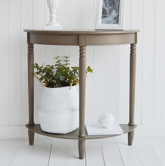 Newport French Grey narrow hallway table for small entranceway decorating ideas