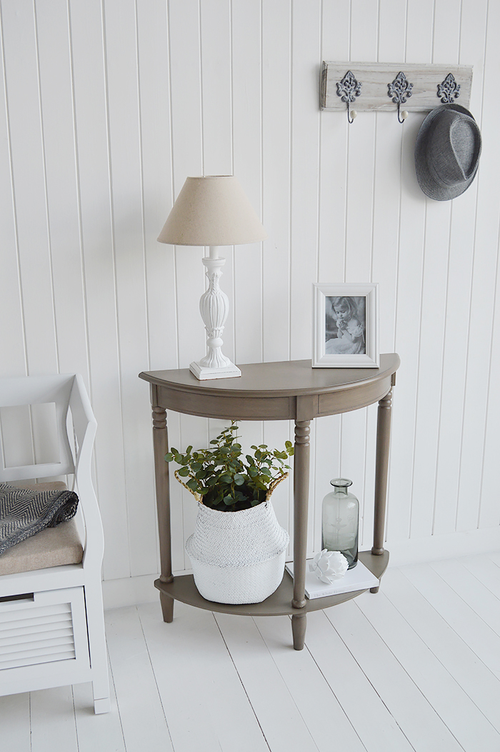 Need ideas for decorating a narrow hall space. French Grey half moon table