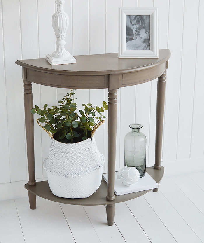 Need ideas for decorating a narrow hall space. French Grey half moon table 30 cm deep gives you a surfce to display home decor and lamps without taking up to much space