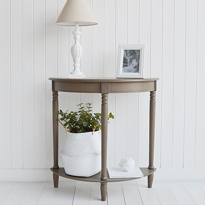 Newport French Grey half moon table for traditional style hallways