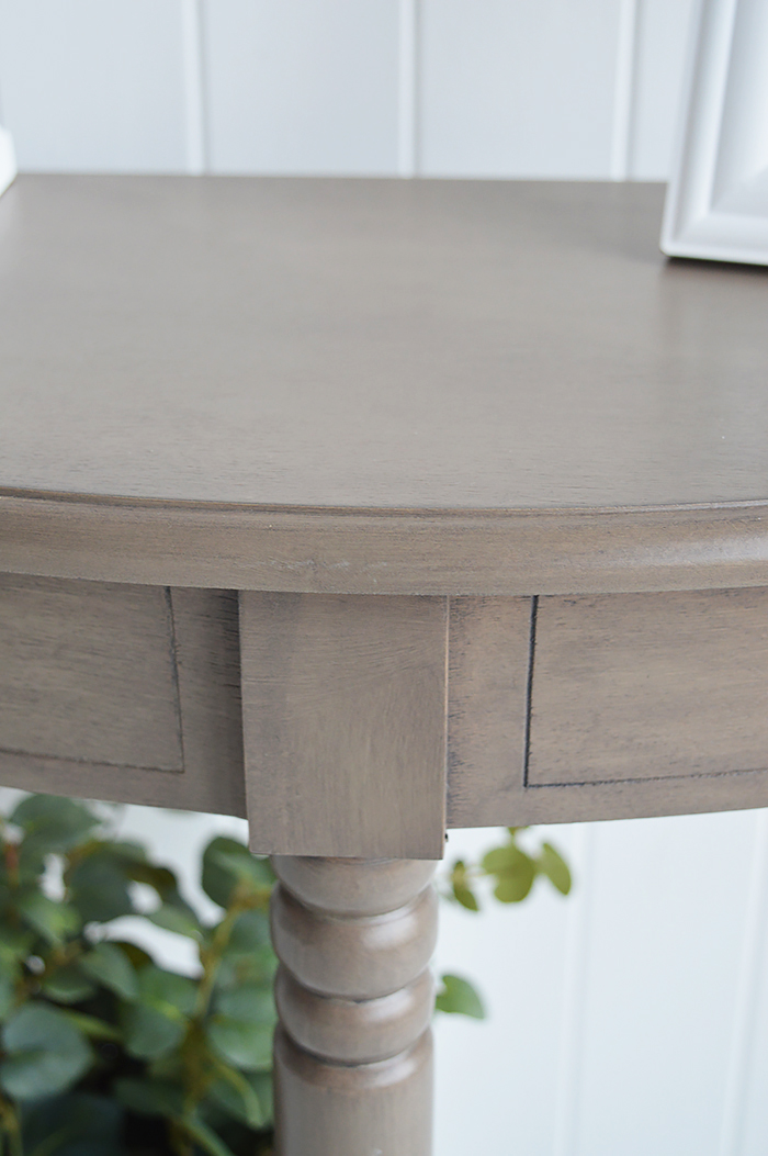 French Grey Newport half moon table for decorating small and narrow hallway spaces