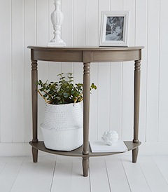 Newport French Grey hallway console table at only 30cm deep, a perfect and affordable option for decorating small hallway and entry way spaces