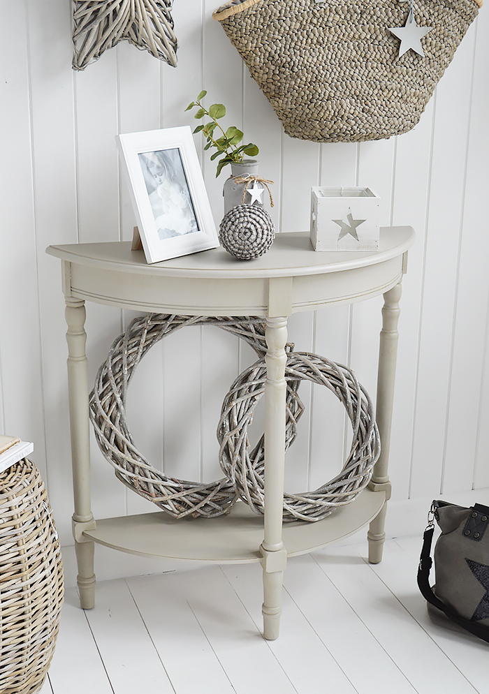 Plymouth half moon grey console hallway table with a shelf from New England, Coastal and Country furniture and homes and interior. The White Lighthouse