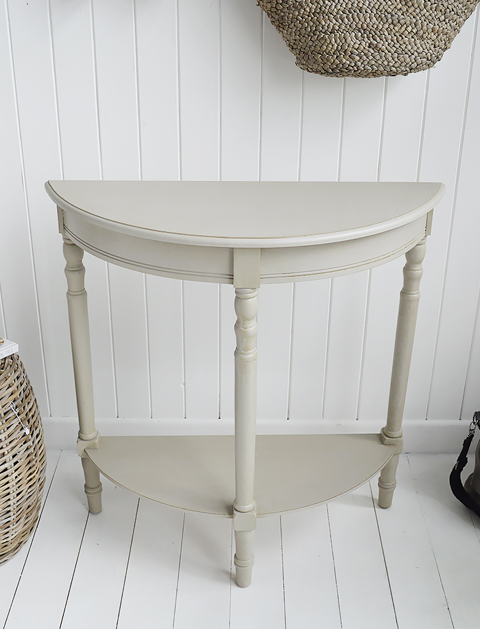 Plymouth half moon grey console hallway table with a shelf from The White Lighthouse  New England, Coastal and Country furniture and home interiors