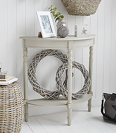 Plymouth half moon grey console hallway table with a shelf from New England, Coastal and Country furniture and home interiors