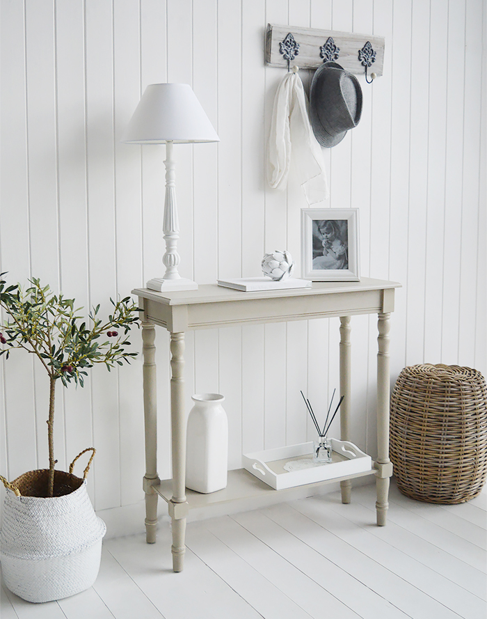 Plymouth narrow grey hall console table with a shelf