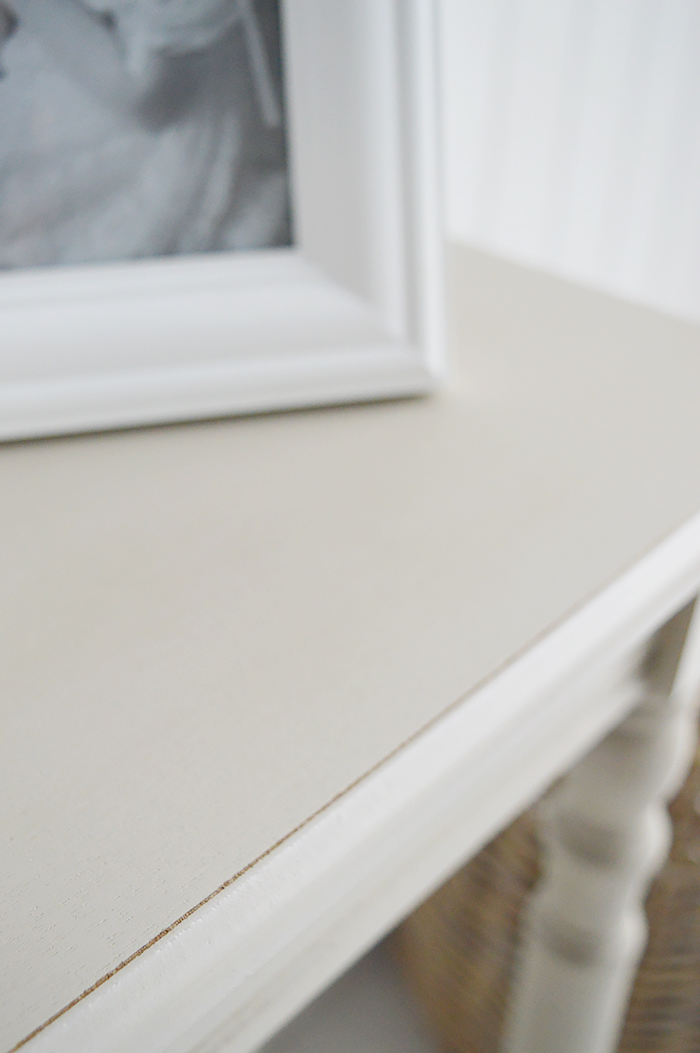 Plymouth narrow grey 30 cm hall table for smaller hallway furniture from The White Lighthouse Interiors