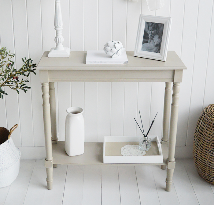Plymouth Narrow Grey Hall Console Table With A Shelf For