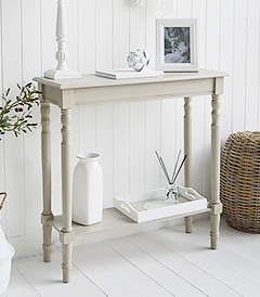 Plymouth narrow grey hall table for smaller New England hallway furniture from The White Lighthouse Interiors