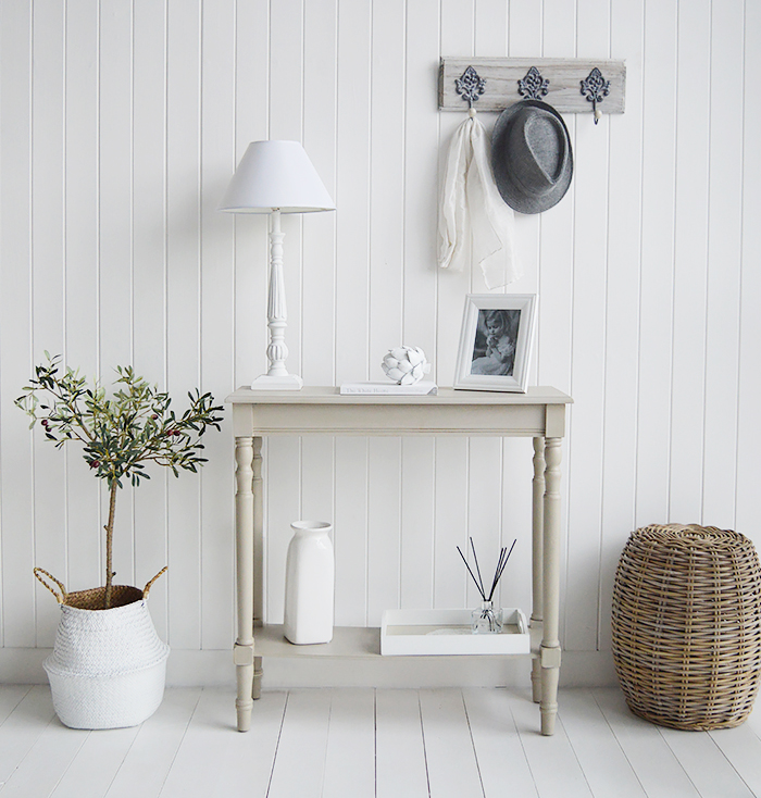 Plymouth narrow grey hall console table with a shelf for smaller hallway furniture