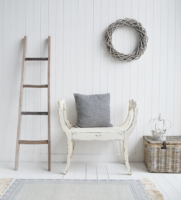 The Provincetown white distressed bench seat. Coastal styled hallway furniture