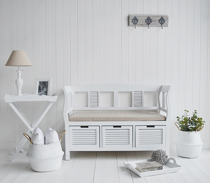 Rhode Island White Wooden Storage Seat Bench with cushion three drawers for hallway shoe storage, a stunning window seat in the living and bedroom