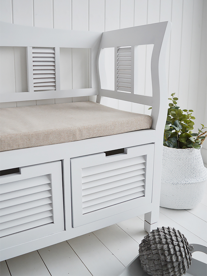 Rhode Island white wood storage seat bench with cushion and three drawers for bedroom and hallway furniture. Delivered Fully Assembled in UK