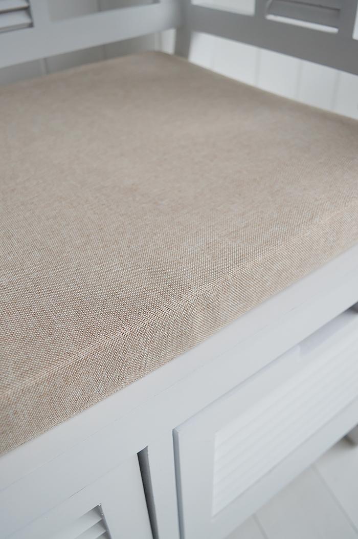 Rhode Island White Storage seat bench with cushion