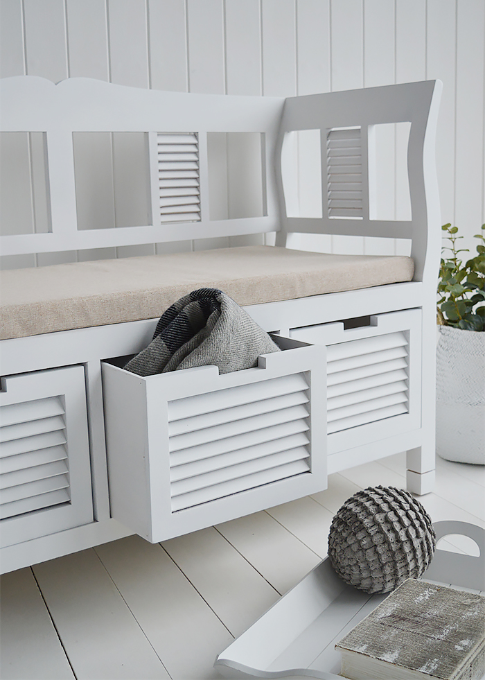 Rhode Island White Storage Seat Bench Hallway Bedroom