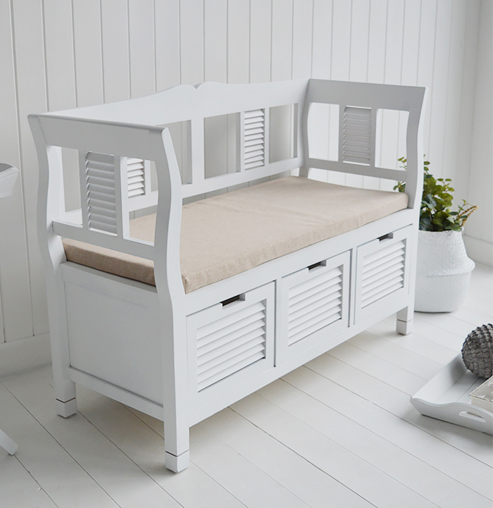 For hallway furniture use our Rhode Island as a storage bench seat in your hall or entrance way, the three drawers are excellent to remove clutter form your hall. Store shoes, hats and scarves and remove items from the floor
