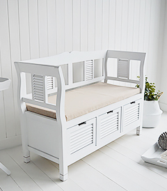 Rhode Island white wooden storage bench seat with cushion, and large drawers for shoes. Stunning seating with high back rest and arms