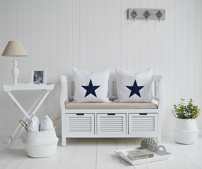The Rhode Island white storage seat bench for hallway seating