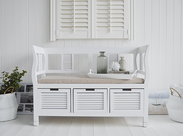 Rhode Island white wooden window seat with high arms and cushion for luxurious living room interiors