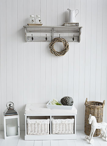 Parisian Grey Wall Shelf With Hooks Four Double Hooks For