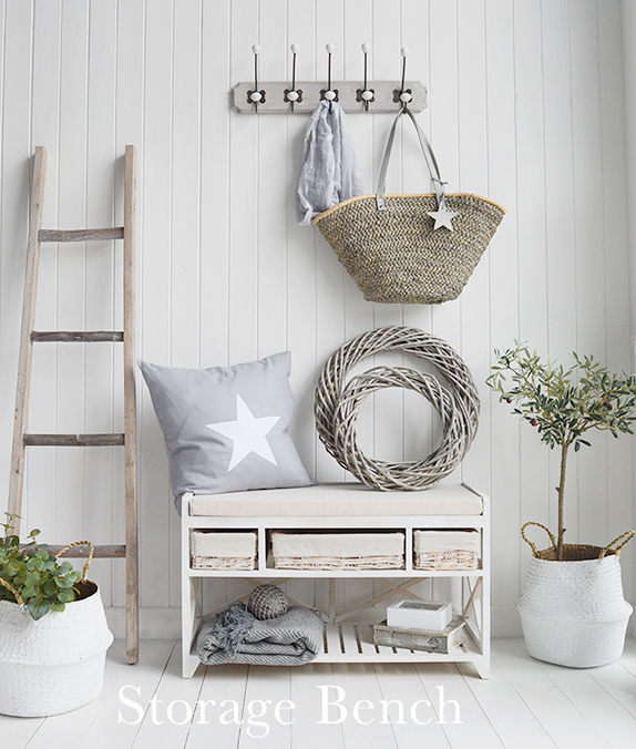 The White Lighthouse Hallway furniture New England, Coastal Country and Scandinavian. Cape Cod white wash shoe storage bench with cushion, baskets and shoe storage