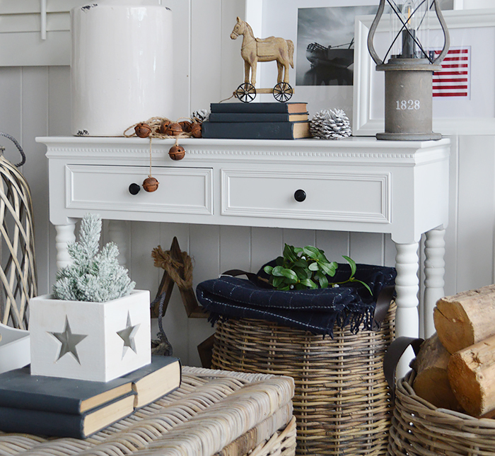 New England white furniture. Hallway console table with two drawers