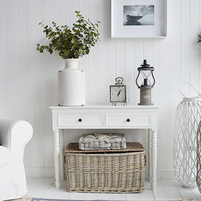 White Console tables with shelves, drawers, narrow for hall furniture