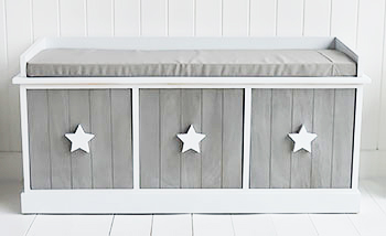 Grey And White Star Cottage Bench With Drawers Hall Furniture