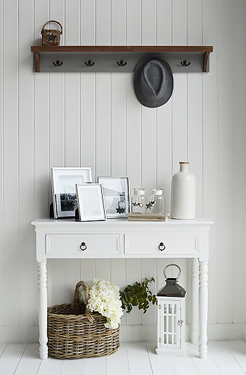Grey and white hall furniture. New England white console table with grey Brunswick coat rack
