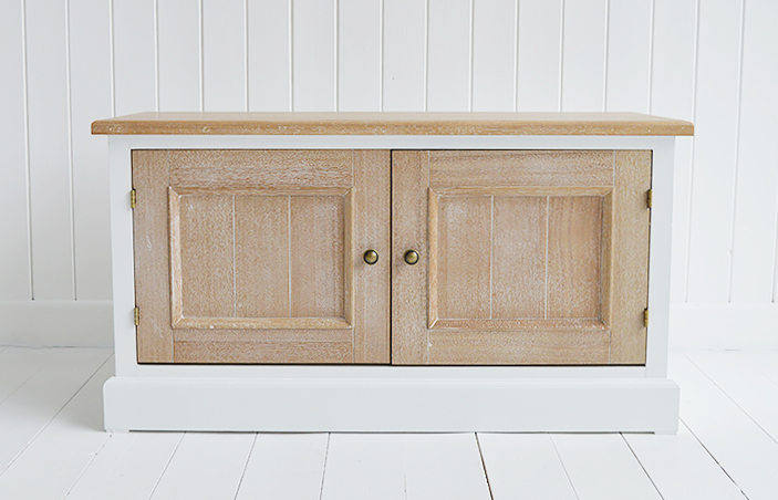 The White Lighthouse hallway furniture. The sturdy and solid Canterbury is ideal as a hallway bench, window seat or tv cabinet for a tv up to 42inch. The Canterbury blends beautifully into all New England style home interiors whether it be on the coast, in the country or the city