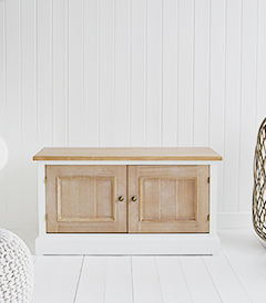 The White Lighthouse living room tv cabinets furniture. The sturdy and solid Canterbury is ideal as a hallway bench, window seat or tv cabinet for a tv up to 42inch. The Canterbury blends beautifully into all New England style home interiors whether it be on the coast, in the country or the city